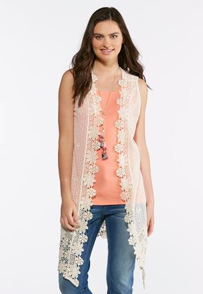 Plus Size Floral Crochet Vest | Tuggl