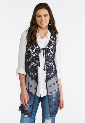 Plus Size Crochet Mesh Vest | Tuggl