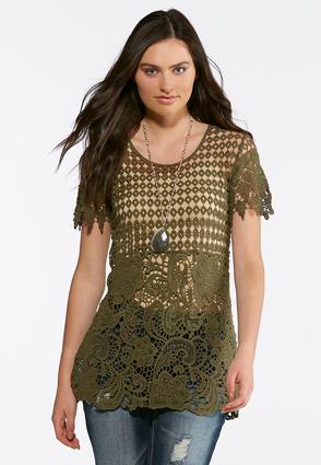 Green Allover Crochet Top | Tuggl