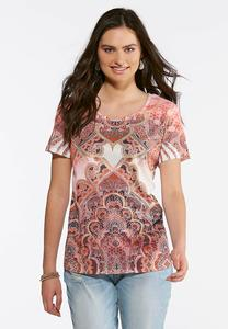Plus Size Embellished Royal Paisley Tee