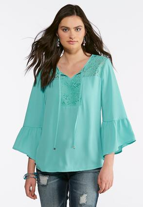 Lace Bell Sleeve Poet Top | Tuggl