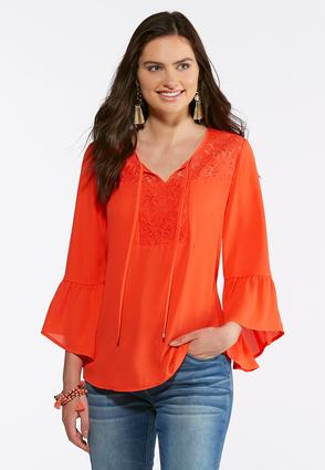Plus Size Lace Bell Sleeve Poet Top | Tuggl