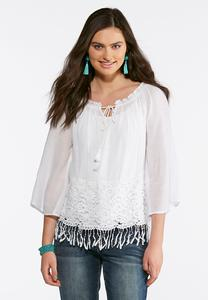 Tasseled Lace Trim Poet Top