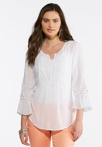White Lace Poet Top