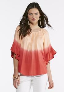 Dip Dye Ruffle Sleeve Top