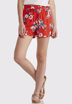 Red Floral Dolphin Shorts | Tuggl