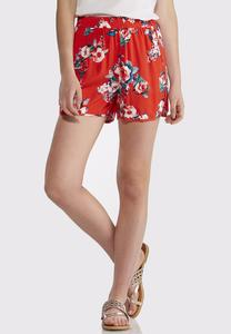 Red Floral Dolphin Shorts