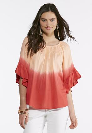 Plus Size Dip Dye Ruffle Sleeve Top at Cato in Brooklyn, NY | Tuggl
