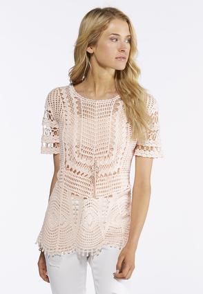 Plus Size Crochet Woven Top | Tuggl