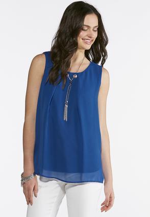 Plus Size Solid Fringe Necklace Top | Tuggl
