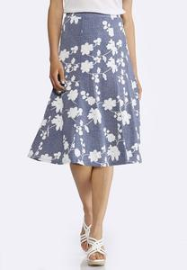 Plus Size Floral Puff Print Skirt