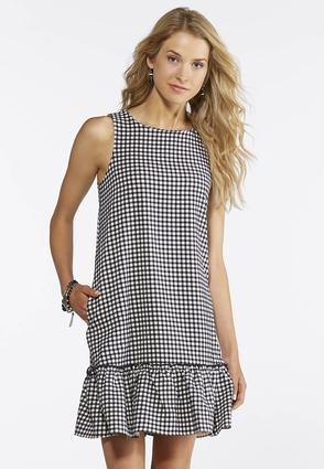 Gingham Ruffle Hem Shift Dress at Cato in Brooklyn, NY | Tuggl
