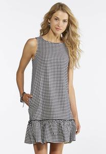 Gingham Ruffle Hem Shift Dress