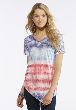Plus Size Embellished Stars And Stripes Tee