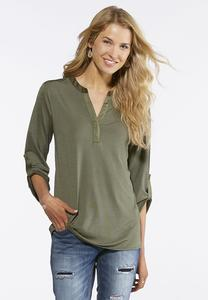 Solid Green V-Neck Top