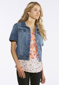 Plus Size Short Sleeve Denim Jacket