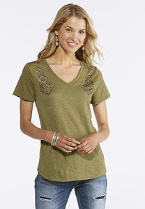 Plus Size Embellished Shoulder Tee