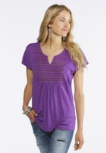 Plus Size Solid Beaded Yoke Top