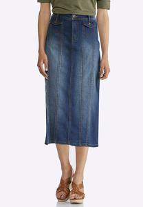 Plus Size Denim Multi Panel Midi Skirt