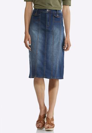 Denim Multi Panel Midi Skirt   Tuggl