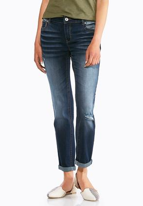 Distress Whiskered Ankle Jeans