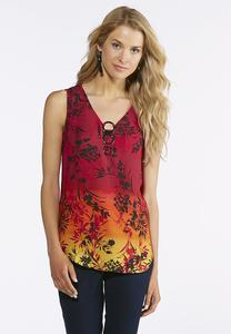 Triple Ring Printed Top