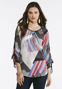 Tie Slit Sleeve Geo Top