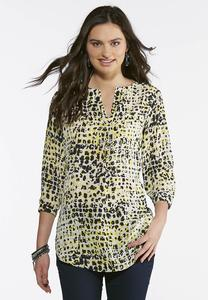 Black And Yellow V-Neck Popover Top