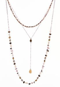 Layered Mixed Bead Y-Necklace