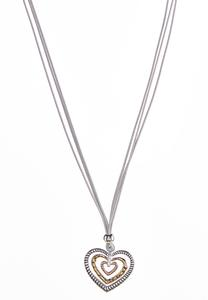 Tri-Tone Layered Heart Necklace