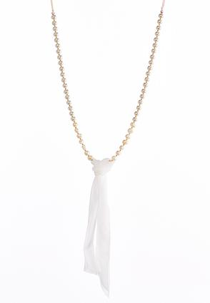 Pearl Fabric Tassel Necklace | Tuggl