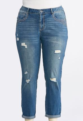 Plus Size Stud Distressed Girlfriend Ankle Jeans | Tuggl