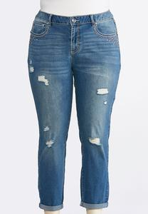 Plus Size Stud Distressed Girlfriend Ankle Jeans
