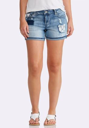 Crochet Patchwork Denim Shorts at Cato in Brooklyn, NY | Tuggl