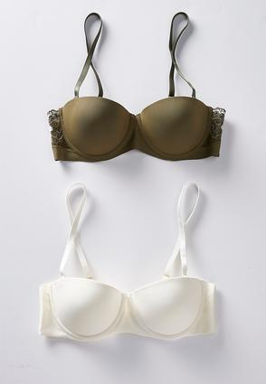 Green And Ivory Convertible Bra Set | Tuggl