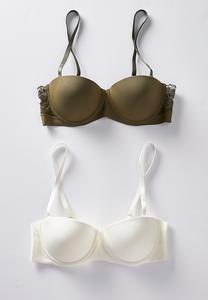 Plus Size Green And Ivory Convertible Bra Set