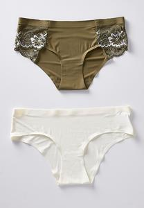 Plus Size Green And Ivory Panty Set