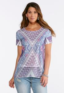 Embellished Mixed Media Top