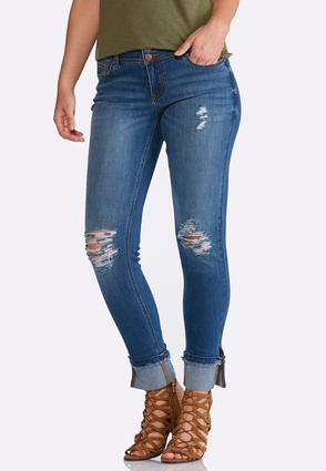 Distressed Cuffed Ankle Jeans   Tuggl