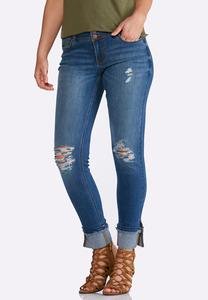 Distressed Cuffed Ankle Jeans
