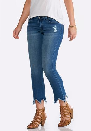Frayed Hem Ankle Jeans   Tuggl