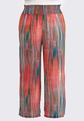 Plus Size Multi Brushed Stripe Palazzo Pants | Tuggl