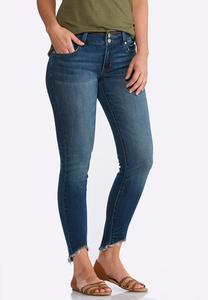 Curved Frayed Ankle Jeans