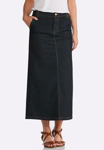 Plus Size Rinse Wash Denim Skirt