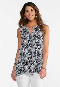 Plus Size Floral Puff Print Sleeveless Tank