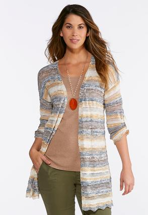 Plus Size Striped Scalloped Cardigan Sweater