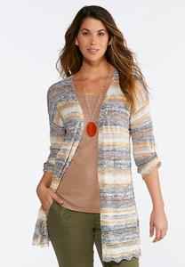 Striped Scalloped Cardigan Sweater