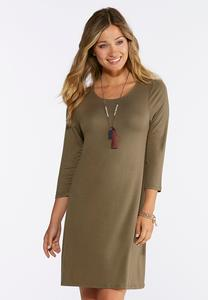 Solid Knit Swing Dress