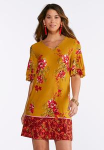 Plus Size Gold Floral Shift Dress
