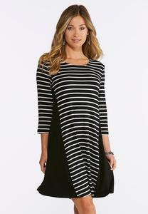 Plus Size Striped Panel Dress